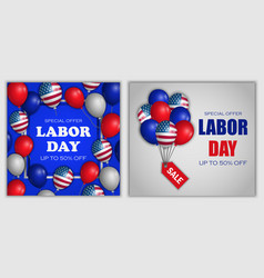 Labor day sale banner concept set realistic style vector