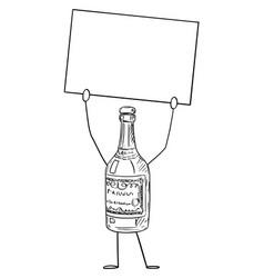 Liquor bottle cartoon character holding empty vector