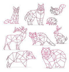 Low poly color gradient line animals set origami vector