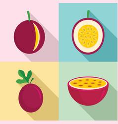 maracuja icons set flat style vector image