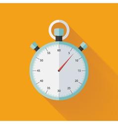 Mint flat stopwatch icon over orange vector