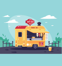 Mobile stall with hot dogs at work in the park vector