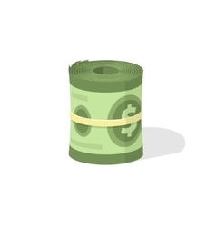 Money roll 3d icon bankroll dollar bill vector