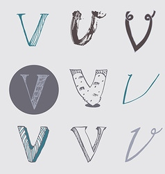 Original letters V set isolated on light gray vector