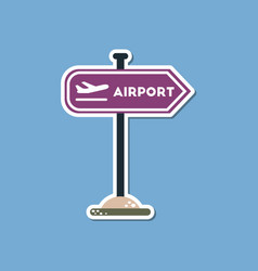 Paper sticker on stylish background airport sign vector