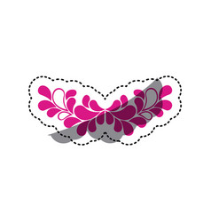 Pink leaves decoration icon vector