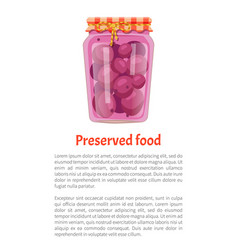Preserved food poster canned purple plums in jar vector