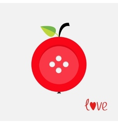 Red button apple with word love Flat design style vector