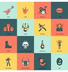 rock music icons flat line vector image