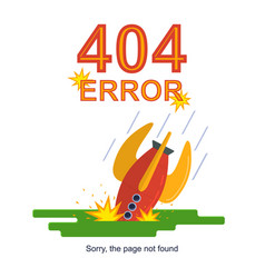 rocket missile crashed error not found concept vector image