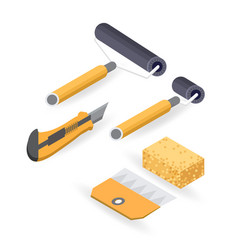 roller cutter isometric construction tools vector image