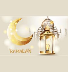 Rose gate pillar lantern with golden moon vector