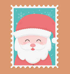 santa claus celebration happy christmas stamp vector image