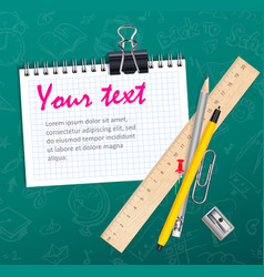 School background with notepad wooden ruler and vector image