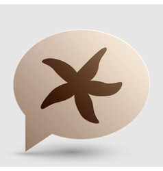 Sea star sign Brown gradient icon on bubble with vector