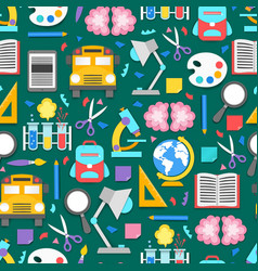seamless pattern with different school supplies vector image