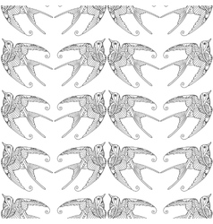 Seamless pattern with ornamental swallow bird vector