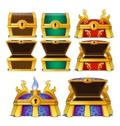 Set of wooden chests of different colors vector image
