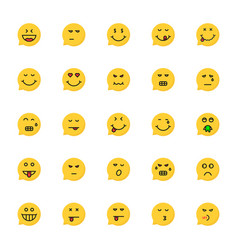 set of yellow emoji speech bubble vector image