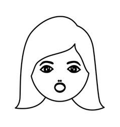 Silhouette cartoon human female face surprised vector