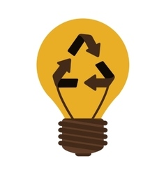 Silhouette electric bulb with recyled sign vector