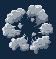 Smoke cloud explosion dust puff cartoon frame vector