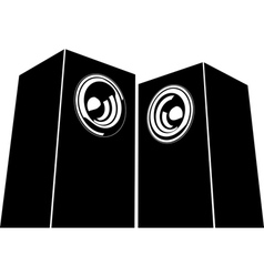 Sound-system speaker icon in black and white vector