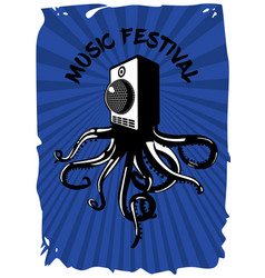 speaker sound system with octopus music festival vector image