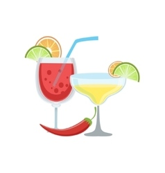 Spicy cocktails mexican culture symbol vector