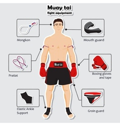 Sport equipment for muay tai martial arts vector image