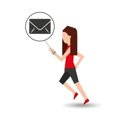Sport girl running with smart watch email icon vector