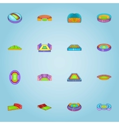 Stadium icons set cartoon style vector