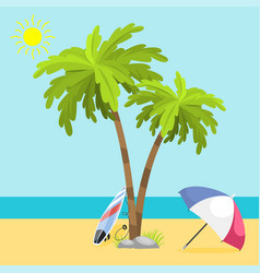 Summer time seach sea shore realistic accessory vector