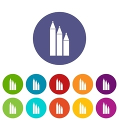 Three pencils set icons vector image