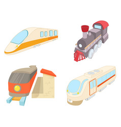 Train icon set cartoon style vector