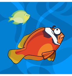 two cartoon tropical fish in water vector image