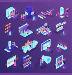 voice control isometric icons vector image