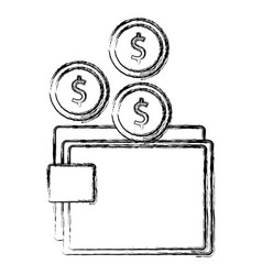 wallet money with coins vector image