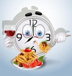 Watch smile dinner of spaghetti vector