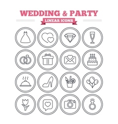 Wedding and party linear icons set Thin outline vector image vector image