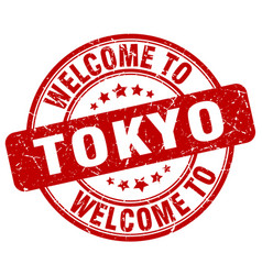 Welcome to tokyo red round vintage stamp vector