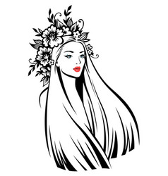 woman at floral wreath vector image