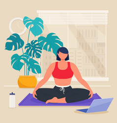 Woman practicing yoga at home in living room vector