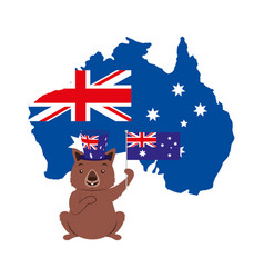 Wombat with hat australian flag map vector