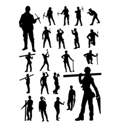 Worker builder detail silhouettes vector