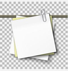 yellow and white sticky note on metal paper clip vector image