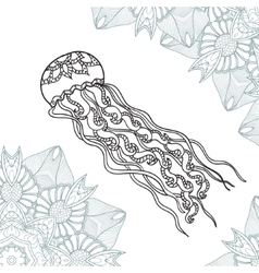 Coloring pages for adult jellyfish with ornament vector image
