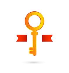 Gold key logo icon design template Real estate vector image