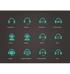 Headphones and headset icons vector image