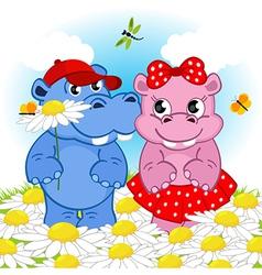 hippo boy gives flower girl vector image vector image